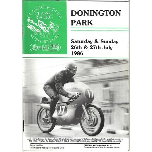 1986 Donnington Park Classicfest Meeting (26-27/07/1986) Motor Cycle Racing Programme