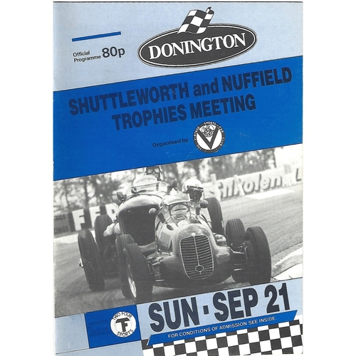1986 Donnington Park Shuttleworth & Nuffield Trophies Meeting (21/09/1986) Motor Racing Programme