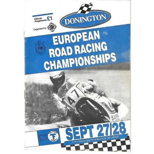 1986 Donnington Park European Road Racing Championships Meeting (27-28/09/1986) Motor Cycle Racing Programme