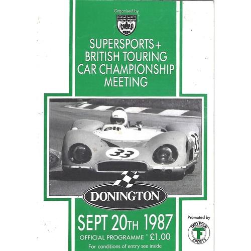 1987 Donnington Park Supersports & British Touring Car Championship Meeting (20/09/1987) Motor Racing Programme