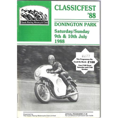 1988 Donnington Park Classicfest Meeting (09-10/07/1988) Motor Cycle Racing Programme
