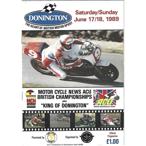 1989 Donnington Park ACU British Road Race Championships & King of Donnington Meeting (17-18/06/1989) Motor Cycle Racing Programme