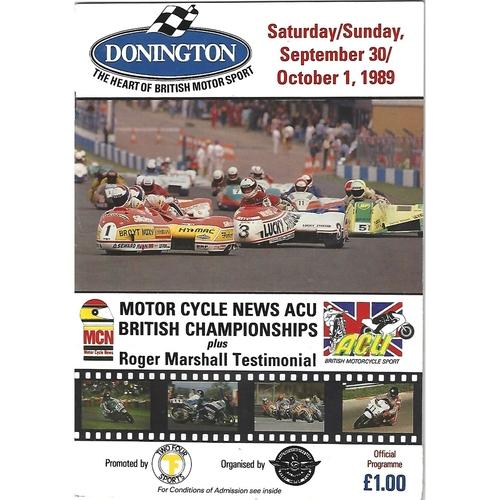 1989 Donnington Park ACU British Road Race Championships & Roger Marshall Testimonial Meeting (30/09/1989 & 01/10/1989) Motor Cycle Racing Programme