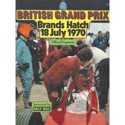 1970 British Grand Prix Motor Racing Programme & Racecard