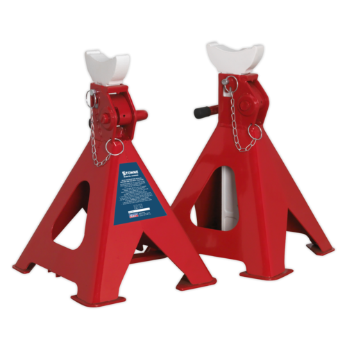 Axle Stands (Pair) 5tonne Capacity per Stand Auto Rise Ratchet - AAS5000
