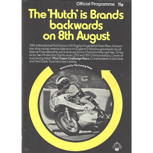 "1971 Brands Hatch 39th International Hutchinson ""100"" Meeting (08/08/1971) Motor Cycle Racing Programme"