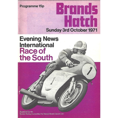 1971 Brands Hatch International Race of The South Meeting (03/10/1971) Motor Cycle Racing Programme