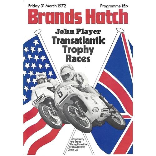 1972 Brands Hatch Transatlantic Trophy Races Meeting (31/03/1972) Motor Cycle Racing Programme