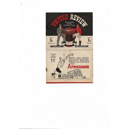 1947/48 Manchester United v Arsenal Football Programme