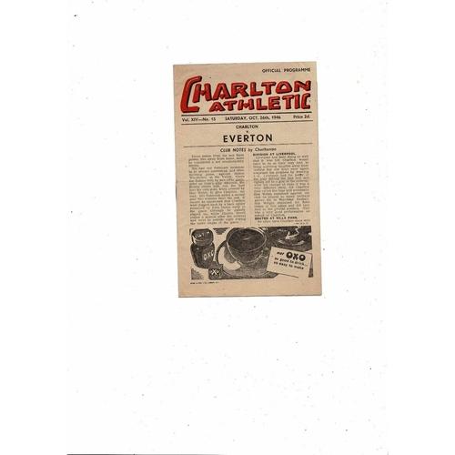 1946/47 Charlton Athletic v Everton Football Programme