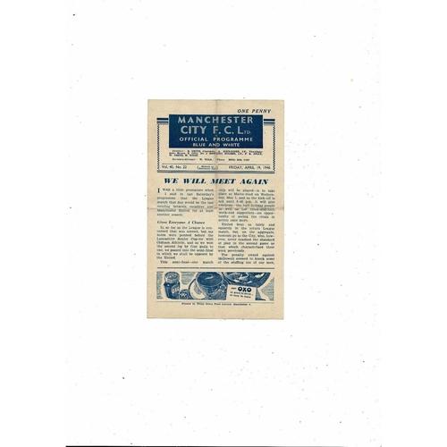 1945/46 Manchester City v Sunderland Football Programme
