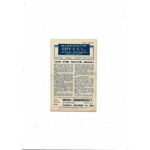 1945/46 Manchester City v Middlesbrough Football Programme