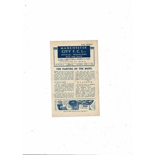 1945/46 Manchester City v Manchester United Football Programme