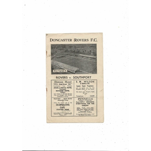 1946/47 Doncaster Rovers v Southport Football Programme