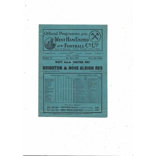 1938/39 West Ham United v Brighton London Combination Football Programme