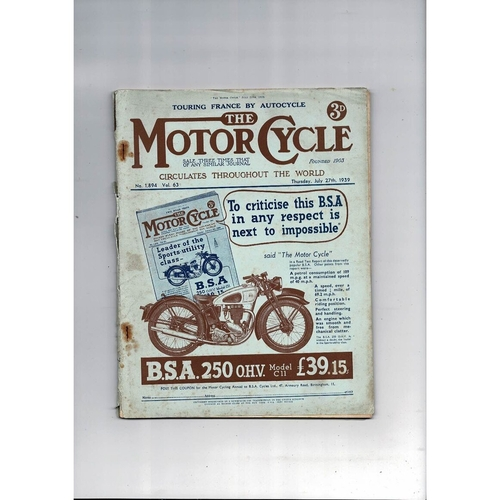 1939 The Motor Cycle Magazine 27th July Vol 63 No 1894