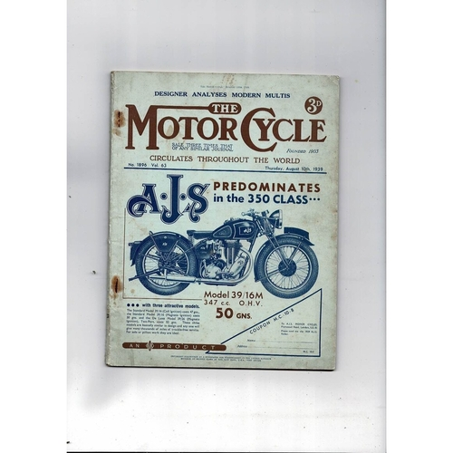 1939 The Motor Cycle Magazine 10th August Vol 63 No 1896