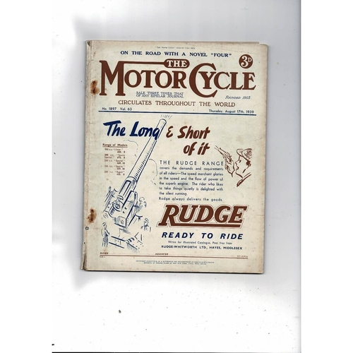 1939 The Motor Cycle Magazine 17th August  Vol 63 No 1897