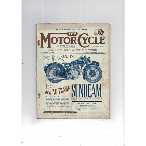 1939 The Motor Cycle Magazine 7th Sept Vol 63 No 1900