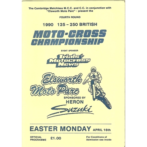 1990 Elsworth Moto Parc 125-250 British Moto-Cross Championship Meeting (16/04/1990) Moto-Cross Programme