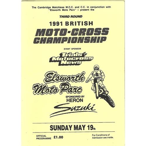 1991 Elsworth Moto Parc 3rd Round British Moto-Cross Championship Meeting (19/05/1991) Moto-Cross Programme