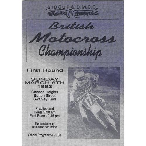 1992 Canada Heights 1st Round British Moto-Cross Championship Meeting (08/03/1992) Moto-Cross Programme