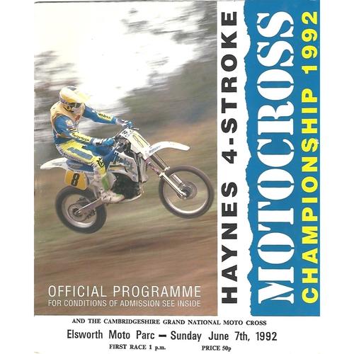 1992 Elsworth Moto Parc Haynes 4-Stroke Moto-Cross Championship Meeting (07/06/1992) Moto-Cross Programme