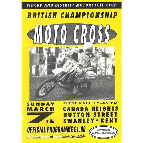 1993 Canada Heights British Moto-Cross Championship Meeting (07/03/1993) Moto-Cross Programme
