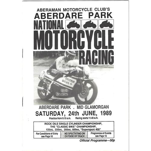 1989 Aberdare Park National Motorcycle Race Meeting (24/06/1989) Motor Cycle Racing Programme