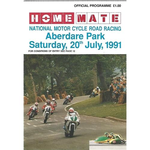 1991 Aberdare Park National Motorcycle Road Race Meeting (20/07/1991) Motor Cycle Racing Programme