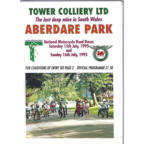 1995 Aberdare Park National Motorcycle Road Race Meeting (15-16/07/1995) Motor Cycle Racing Programme