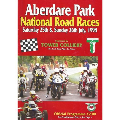 1998 Aberdare Park National Motorcycle Road Race Meeting (25-26/07/1998) Motor Cycle Racing Programme