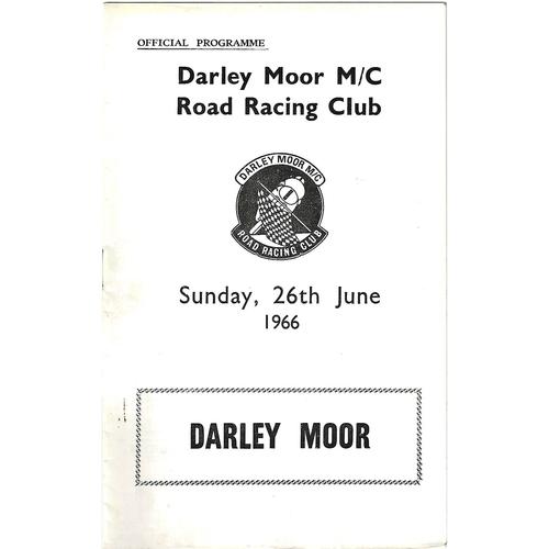 1966 Darley Moor Motor Cycle Road Racing Club Meeting (26/06/1966) Motor Cycle Racing Programme