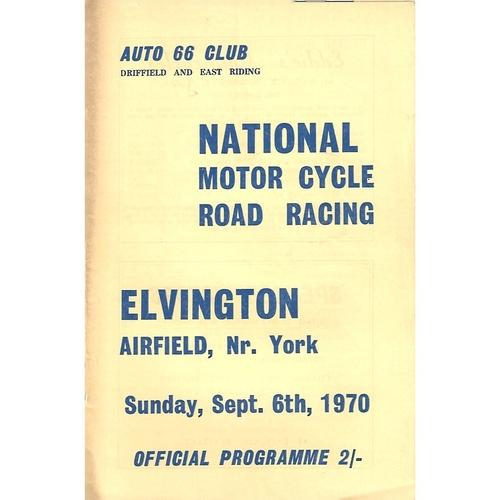 1970 Elvington Auto 66 Club National Motor Cycle Road Racing Meeting (06/09/1970) Motor Cycle Racing Programme