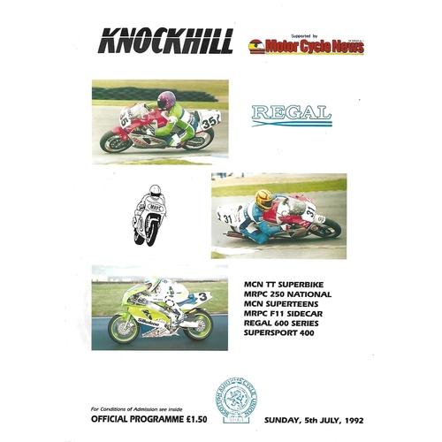 1992 Knockhill Motor Cycle Race Meeting (05/07/1992) Motor Cycle Racing Programme