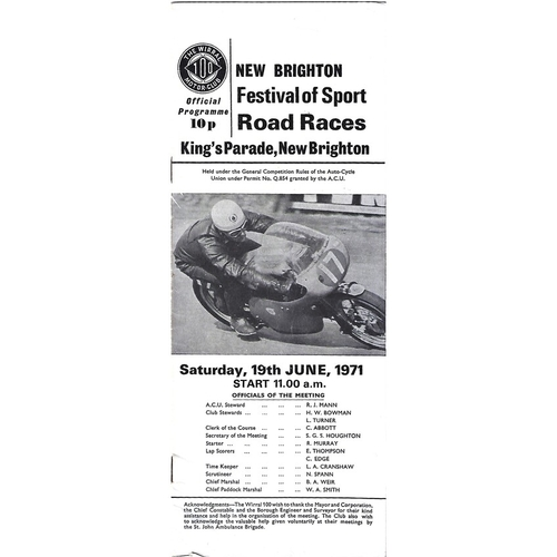 1971 New Brighton Festival of Sport Road Race Meeting (19/06/1971) Motor Cycle Racing Programme