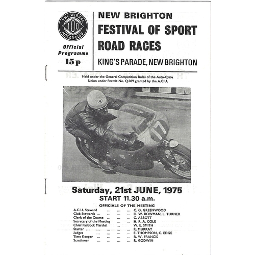 1975 New Brighton Festival of Sport Road Race Meeting (21/06/1975) Motor Cycle Racing Programme