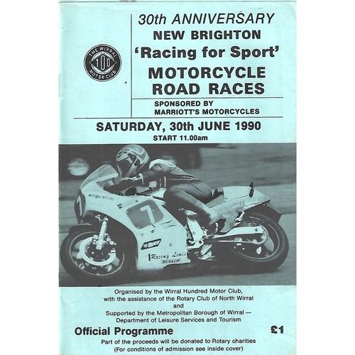 "1990 New Brighton  ""Racing for Sport"" Motorcycle Road Race Meeting (30/06/1990) Motor Cycle Racing Programme"