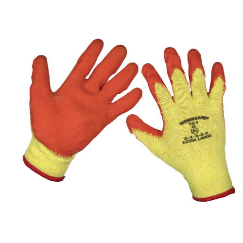 Super Grip Knitted Gloves Latex Palm (X-Large) - Pack of 120 Pairs - Sealey - 9121XL/B120