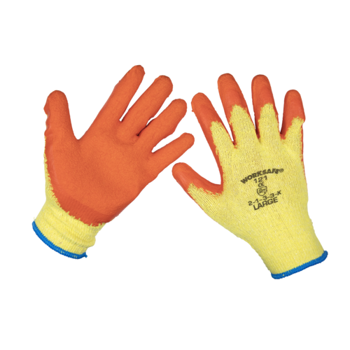 Super Grip Knitted Gloves Latex Palm (Large) - Pack of 120 Pairs - Sealey - 9121L/B120
