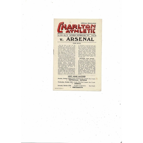 1951/52 Charlton Athletic v Arsenal Football Programme