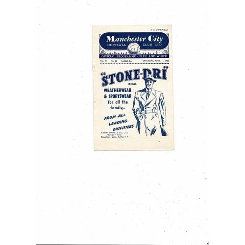1952/53 Manchester City v Arsenal Football Programme