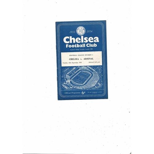 1953/54 Chelsea v Arsenal Football Programme
