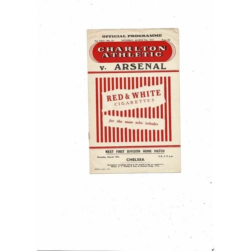 1954/55 Charlton Athletic v Arsenal Football Programme