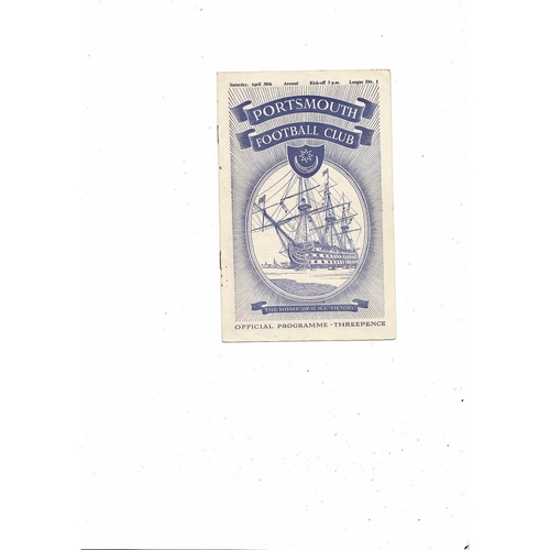 1954/55 Portsmouth v Arsenal Football Programme