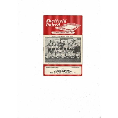 1953/54 Sheffield United v Arsenal Football Programme