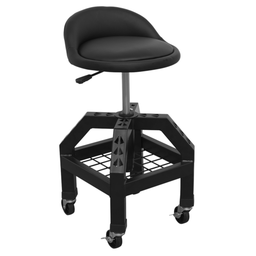 Creeper Stool Pneumatic with Adjustable Height Swivel Seat & Back Rest - SCR03B