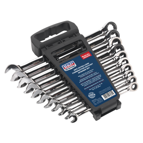 Combination Ratchet Spanner Set 10pc Extra-Long Metric - Sealey - AK63914