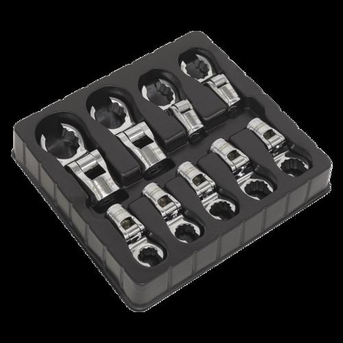 """Flexible Crow's Foot Spanner Set 9pc 1/2""""Sq Drive Metric - Sealey - AK5985"""