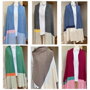 Colour block cashmere wrap